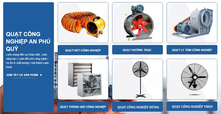 sẩn xuất và phân phối quạt công nghiệp đủ các loại